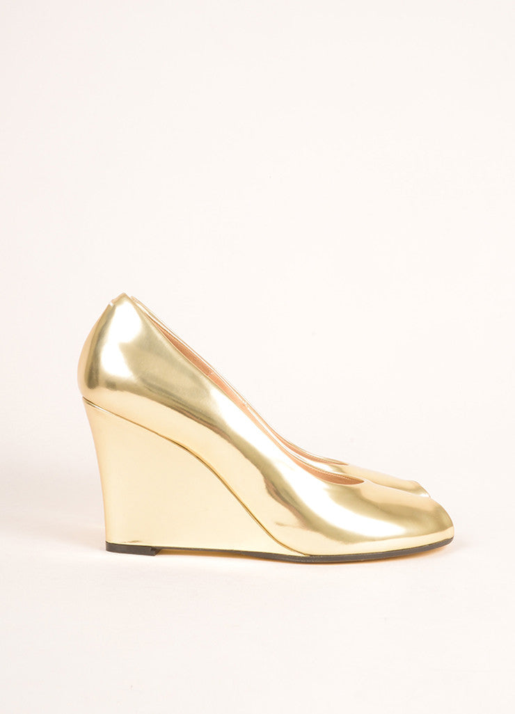 Maison Martin Margiela Gold Patent Leather Metallic Peep Toe Wedge Pumps Sideview