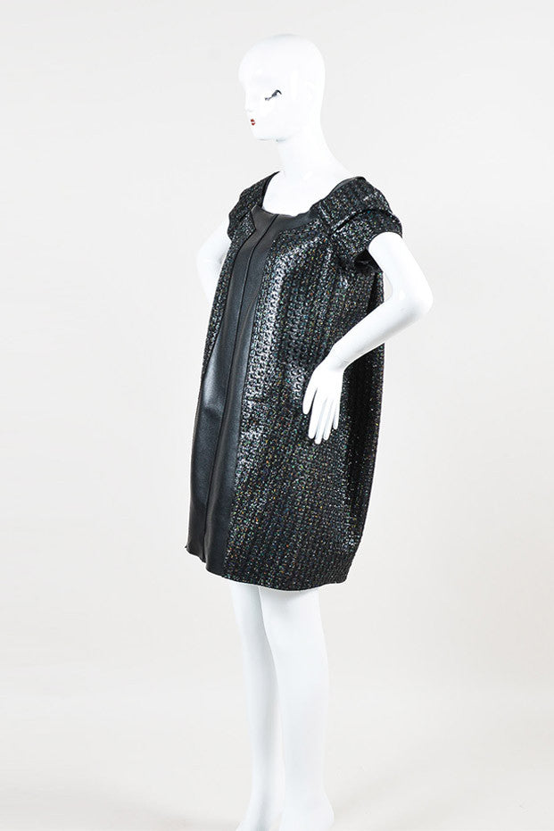 Marc Jacobs Black Iridescent Faux Leather Panel Short Sleeve Dress Sideview