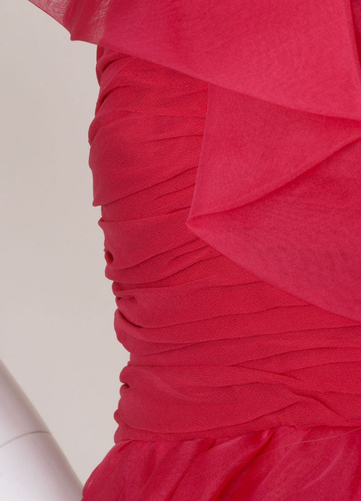 Marchesa Notte Pink Silk Ruffle Ruched One Shoulder Cocktail Dress Detail