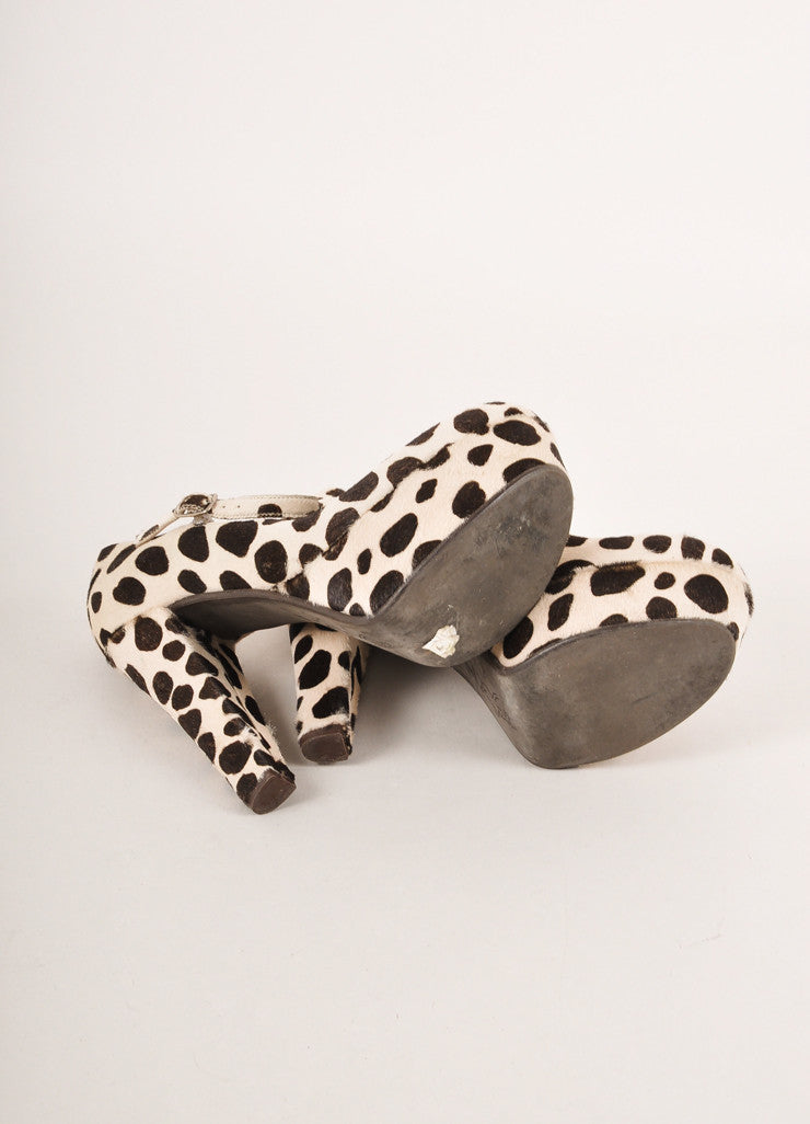 Marni Brown and Cream Spotted Pony Hair Platform Mary Jane Pumps Outsoles