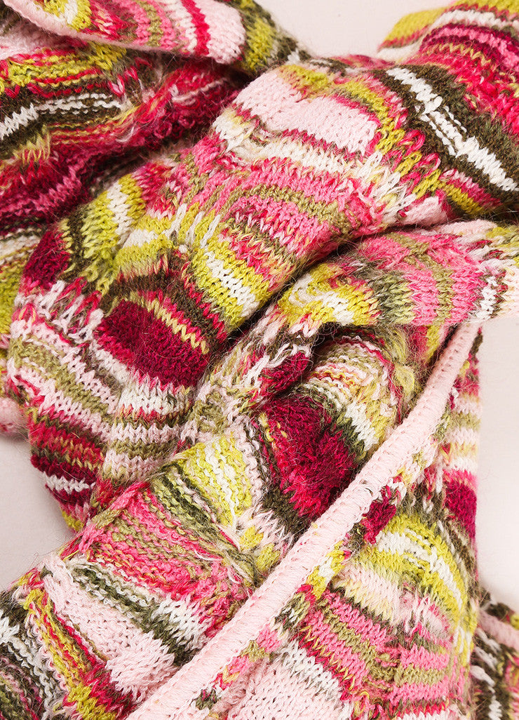 Missoni Pink and Green Wool and Mohair Knit Scarf  Detail
