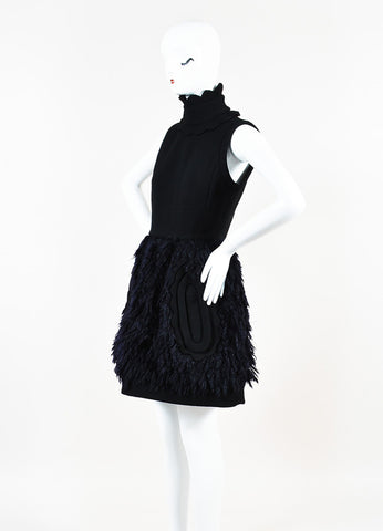 Black and Navy Blue Miu Miu Wool and Mohair Detachable Collar Sleeveless Dress Sideview