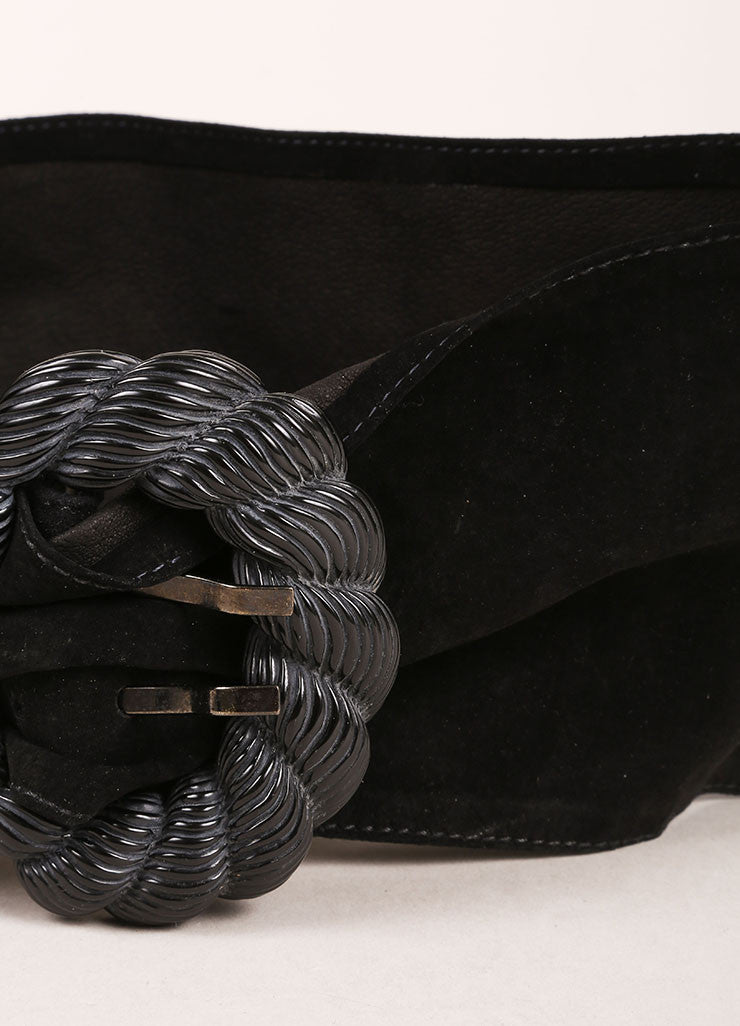 Nina Ricci Black Suede Leather Sash Seashell Buckle Belt Detail