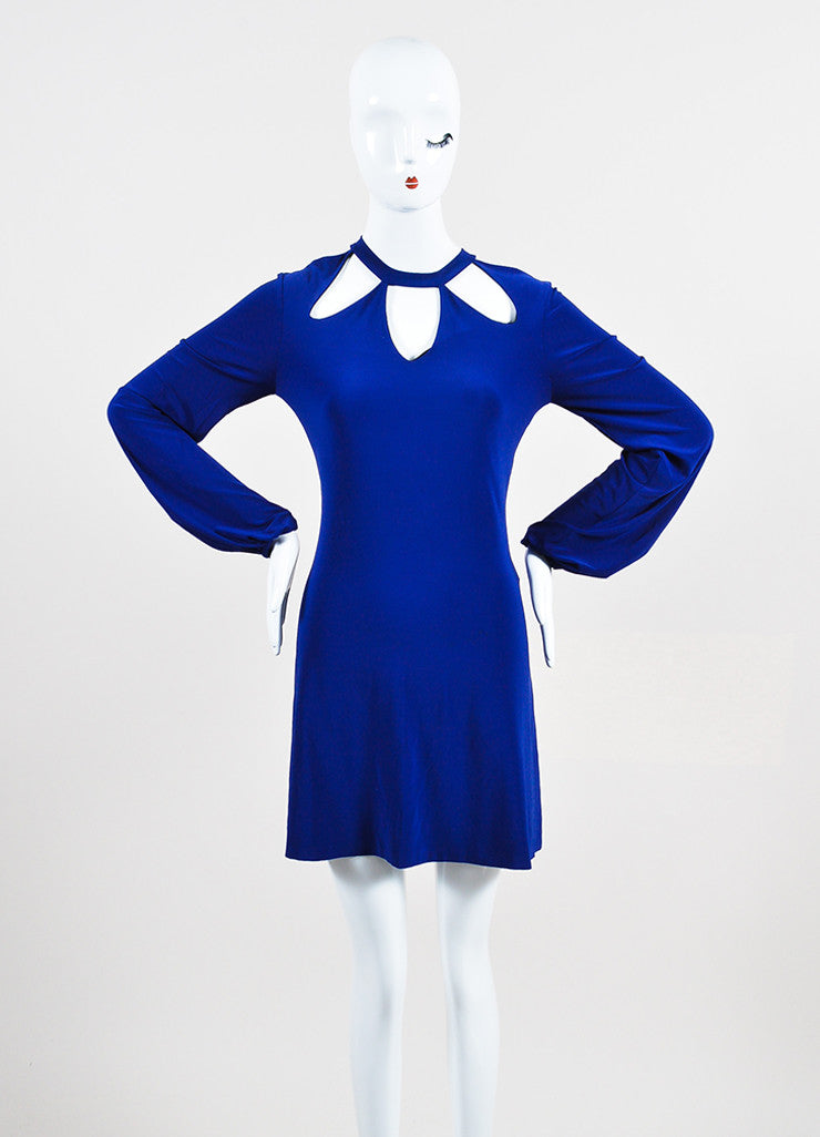 Norma Kamali x Everlast Royal Blue Long Sleeve Cutout Shoulder Dress Front 2