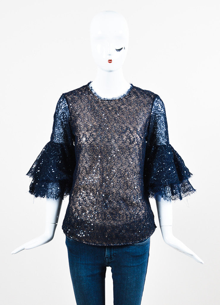 Navy Blue Oscar de la Renta Net Sequin Illusion Bell Sleeve Sheer Top Frontview