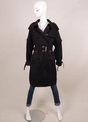 Black Wool Double Breasted Trench Coat with Zip Off Sleeves