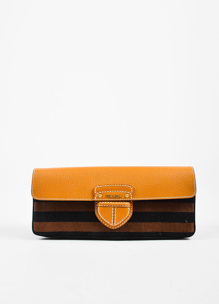 "Prada Tan, Brown, and Black Canvas Leather Striped ""Canapa Righe"" Clutch Bag Frontview"