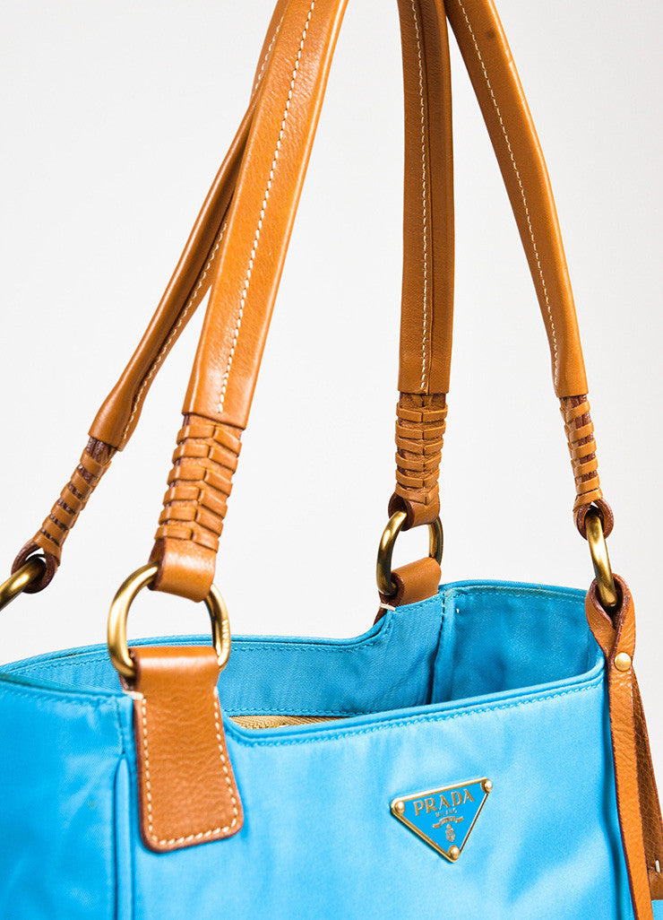 Prada Teal Blue Tan Nylon Leather Trim Tassel Top Handle Tote Bag Detail 2