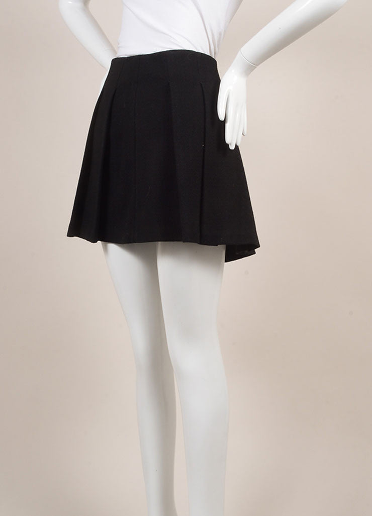 Proenza Schouler Black Wool Blend Leather Trim Pleated Mini Skater Skirt Sideview