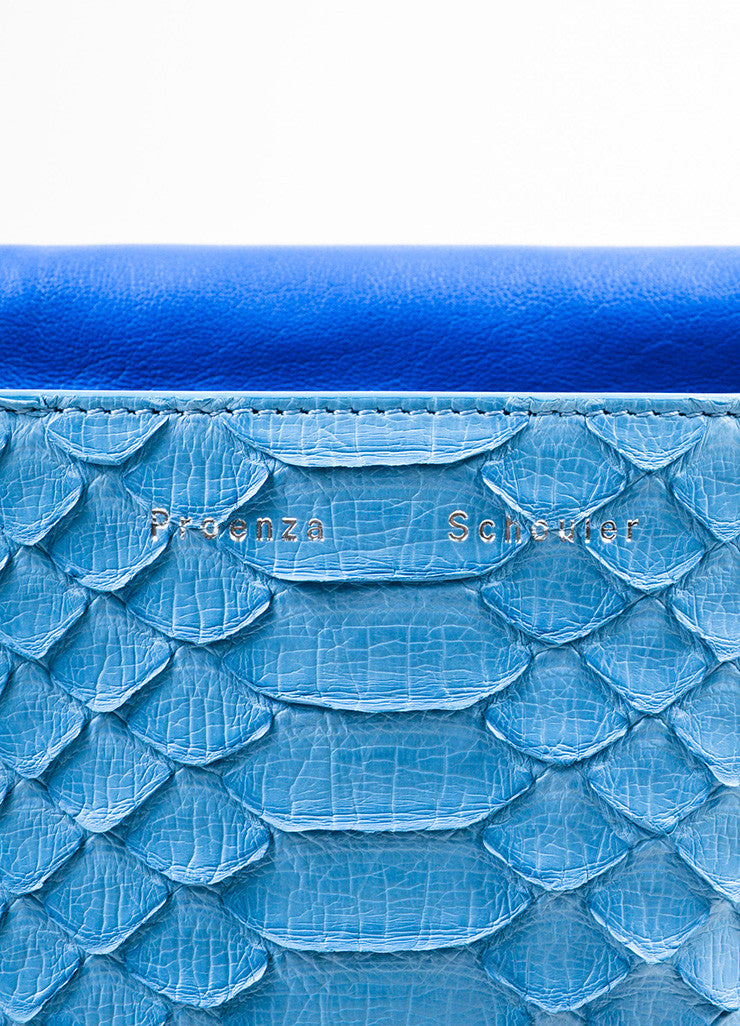 "Proenza Schouler Blue Python Two Tone Chain Shoulder Strap ""Small Courier"" Bag Brand"