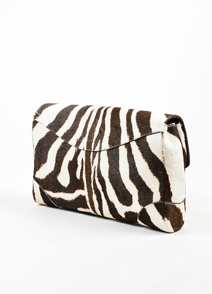 Cream and Brown Ralph Lauren Pony Hair Zebra Print Flap Clutch Bag Sideview