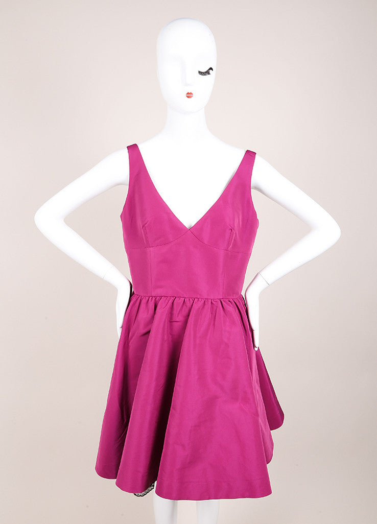 Red Valentino New With Tags Purple and Black Swiss Dot Trim Taffeta Sleeveless Dress Frontview