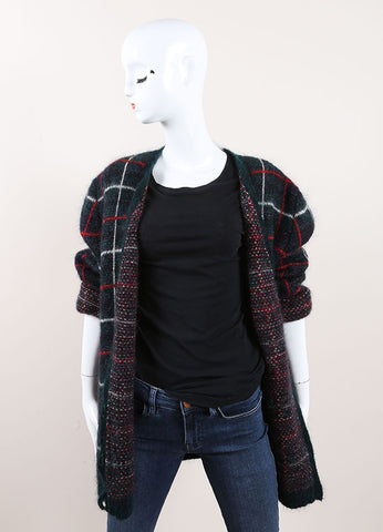 "Saint Laurent Green, Red, and White Mohair Blend ""Tartan"" Cardigan Frontview"