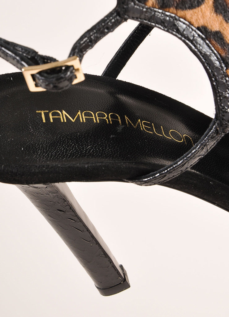 "Tamara Mellon New In Box ""Troublemaker"" Leopard Print Pony Hair Sandal Heels Brand"