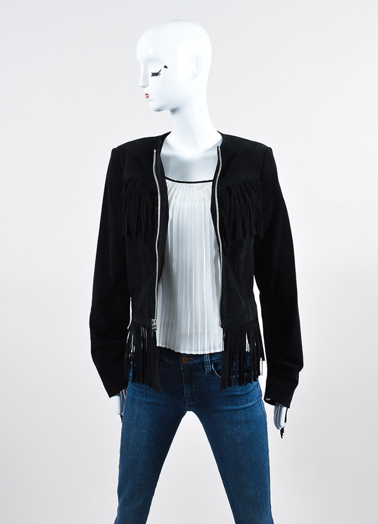 "The Perfext Black Suede ""Wendy"" Fringe Zip Jacket Frontview"