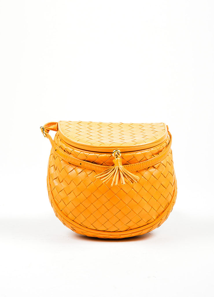 Orange Bottega Veneta Leather Woven Tassel Cross Body Bag Frontview