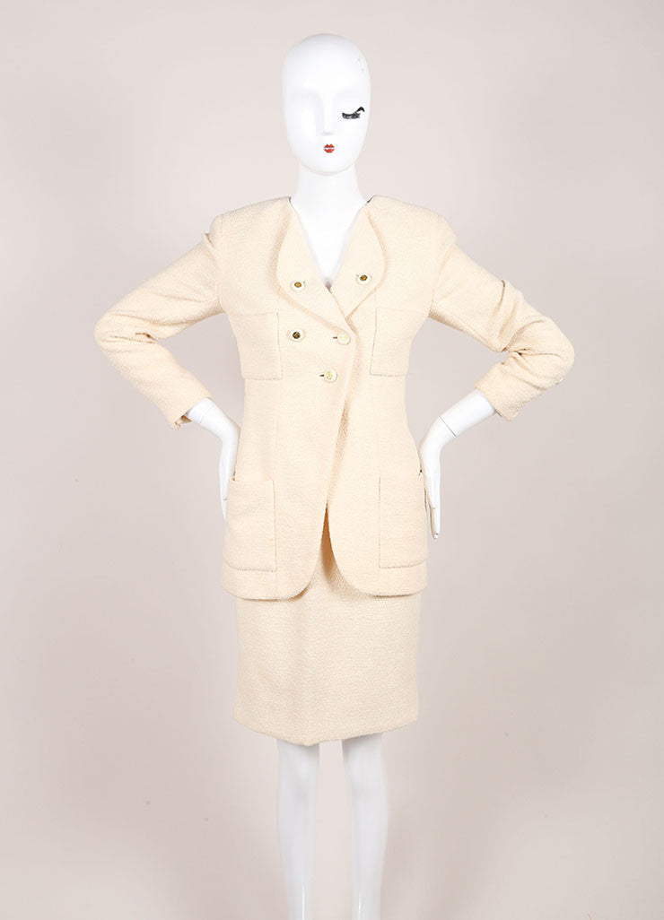 Chanel Cream Wool Tweed 'CC' Button Skirt Suit Frontview