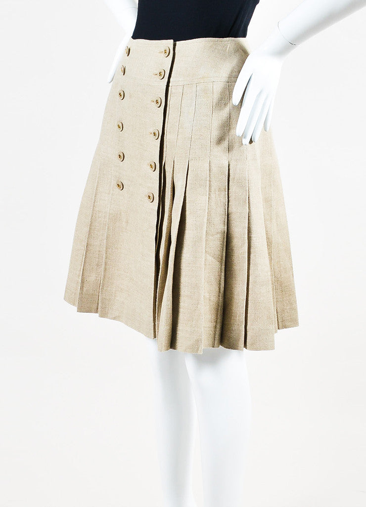 Tan Linen Chanel Gold Toned 'CC' Button Pleated Skirt Sideview