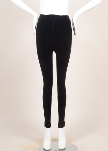 VINTAGE Gianni Versace Couture Black Velvet High Waisted Zippered Leggings SZ 42 Frontview