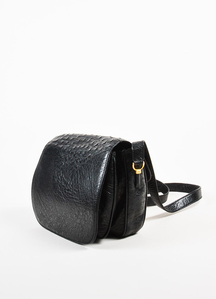 Gucci Black Ostrich Leather Cross Body Satchel Bag Sideview