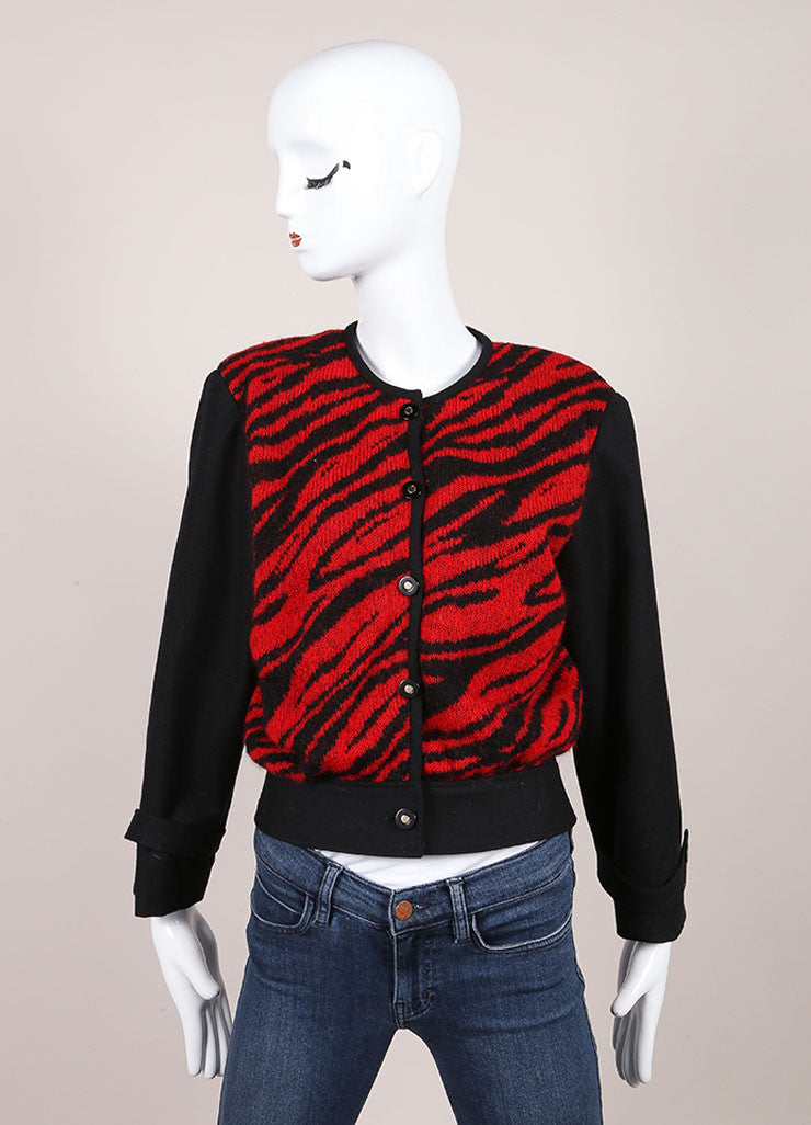 Hanae Mori Red and Black Zebra Print Front Button Wool Cardigan Frontview