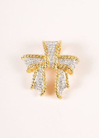 Kenneth Jay Lane Gold Toned Rhinestone Embellished Bow Pendant Frontview