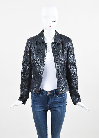 Valentino Black Leather Laser Floral Cut Crop Jacket Frontview