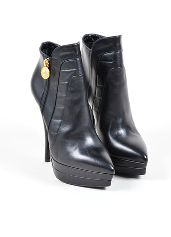Versace Black Leather Paneled Pointed Platform Ankle Booties Frontview