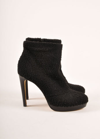 "Viktor & Rolf Black Shearling Platform Heeled ""Wooly"" Ankle Boots Sideview"