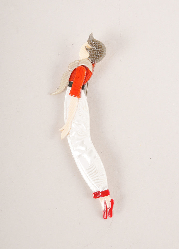 Lea Stein White, Grey, and Red Acetate Flying Woman Brooch Frontview
