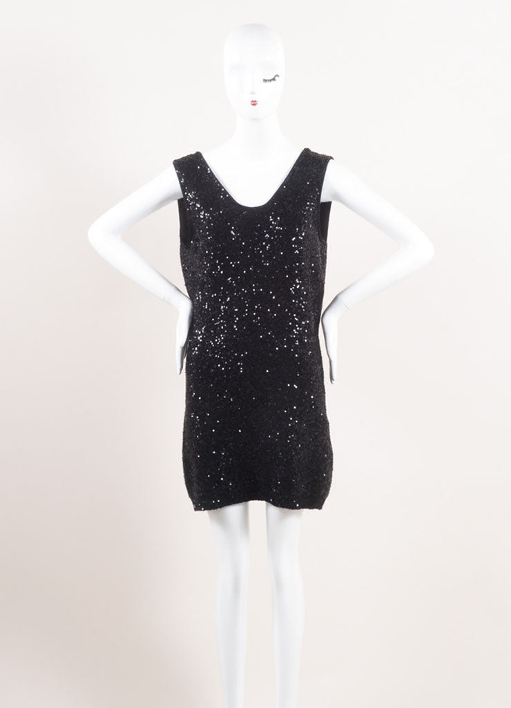Yves Saint Laurent New With Tags Black Sequin Sleeveless Mini Knit Sweater Dress Frontview
