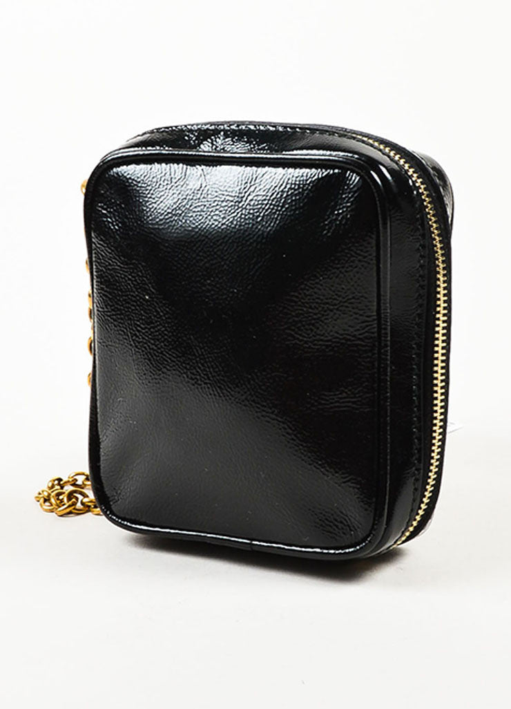 "Yves Saint Laurent Black Patent Leather Zip Around ""Belle de Jour"" Wristlet Sideview"