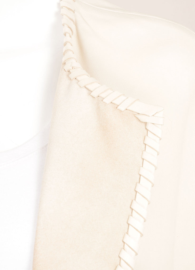 Yves Salomon New With Tags Cream Short Sleeve Open Lace Edged Leather Duster Jacket Detail
