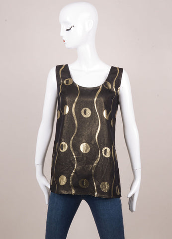 Black and Gold Gianni Versace Metallic Printed Tank Top
