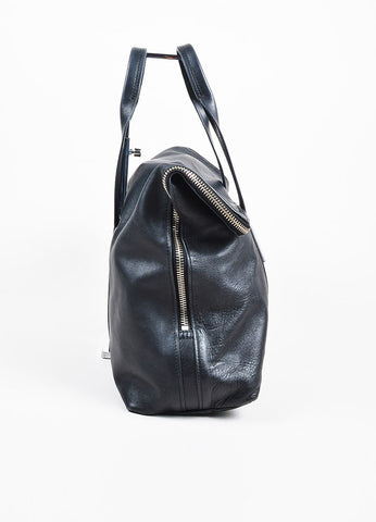 "3.1 Phillip Lim Black Leather Fold Over Silver Toned Zip ""31 Hour"" Bag Sideview"