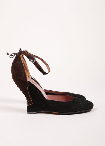 Alaia Black and Brown Suede Ankle Strap Lace Up Back Close Toe Wedges Sideview