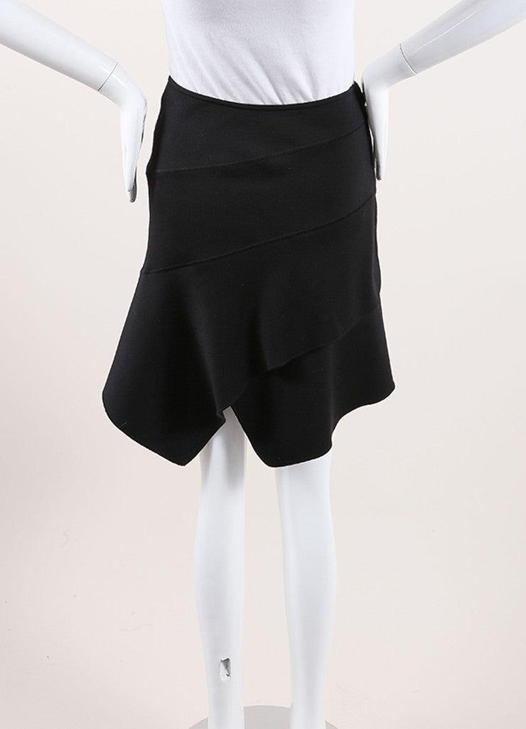 Alaia Black Paneled Wool Knit Asymmetric Hem Wrap Style Skirt Backview