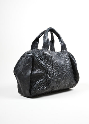 "Black Pebbled Leather Silver Toned Stud Alexander Wang ""Rocky"" Slouchy Handbag Sideview"