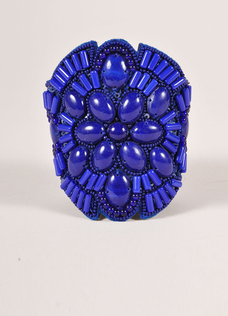 Andrew Gn New Blue Beaded Large Leather Cuff Bracelet Frontview