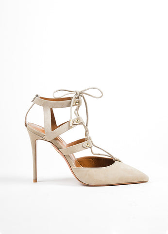"Beige ""Ash"" Suede Lace Up Aquazzura ""Bel Air"" Pointed Toe Pumps Sideview"