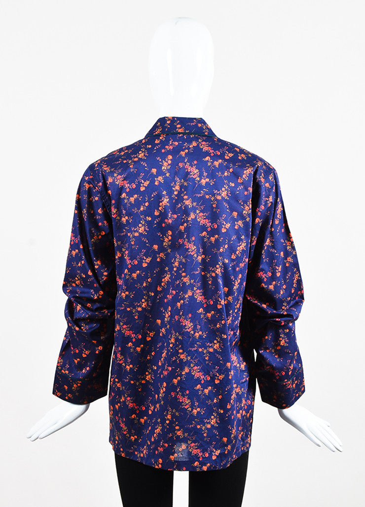 Araks Navy, Red, and Black Silk Trim Floral Print Long Sleeve Pajama Top Backview