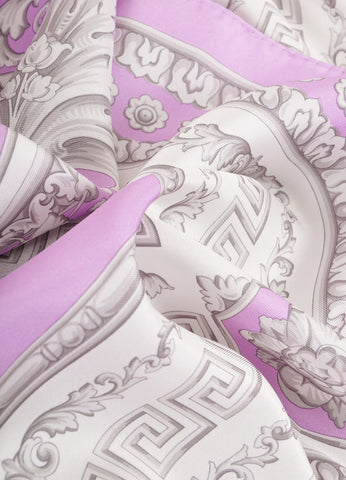 Atelier Versace Purple and Grey Frieze Border Print Silk Scarf Detail