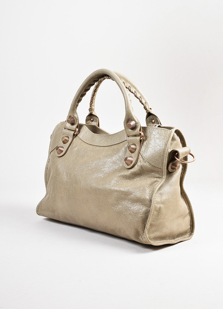 "Balenciaga ""Papyrus"" Taupe Rose Gold Toned Leather ""Giant 21 City"" Bag Sideview"