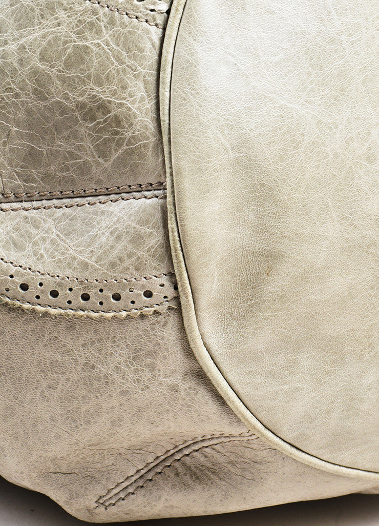 "Balenciaga Grey Taupe Lambskin Leather ""Giant Covered Brogues Pompon"" Handbag Detail"