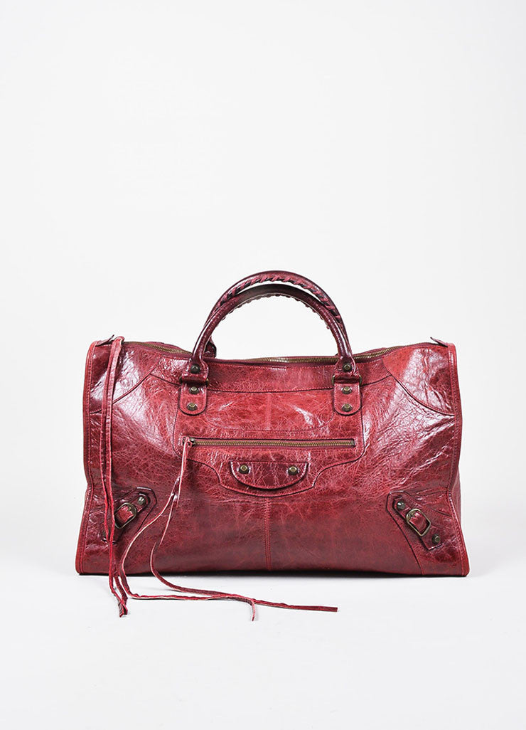 "Balenciaga Maroon Red Leather ""Classic Work"" Satchel Tote Bag Frontview"