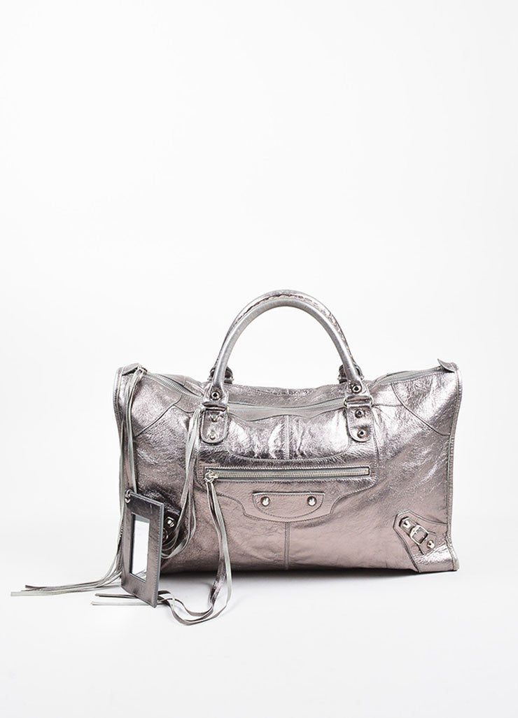 "Balenciaga Metallic Gunmetal Leather Silver Toned Stud Zip ""Classic Work"" Bag Frontview"