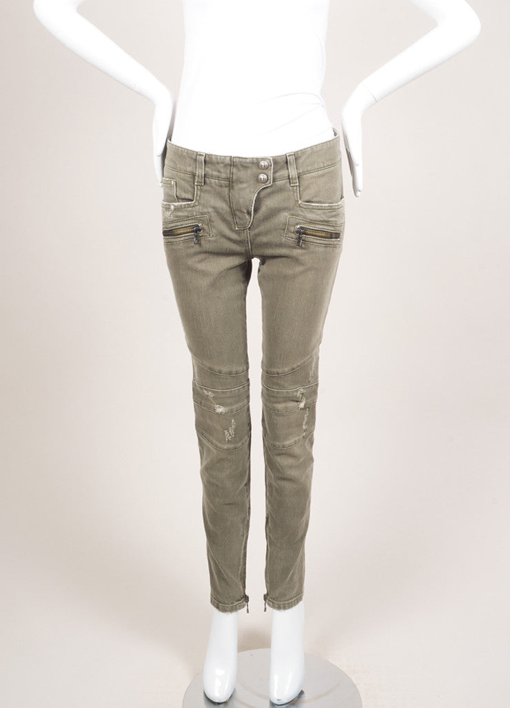 Balmain New With Tags Grey Denim Distressed Zip Moto Jeans Frontview