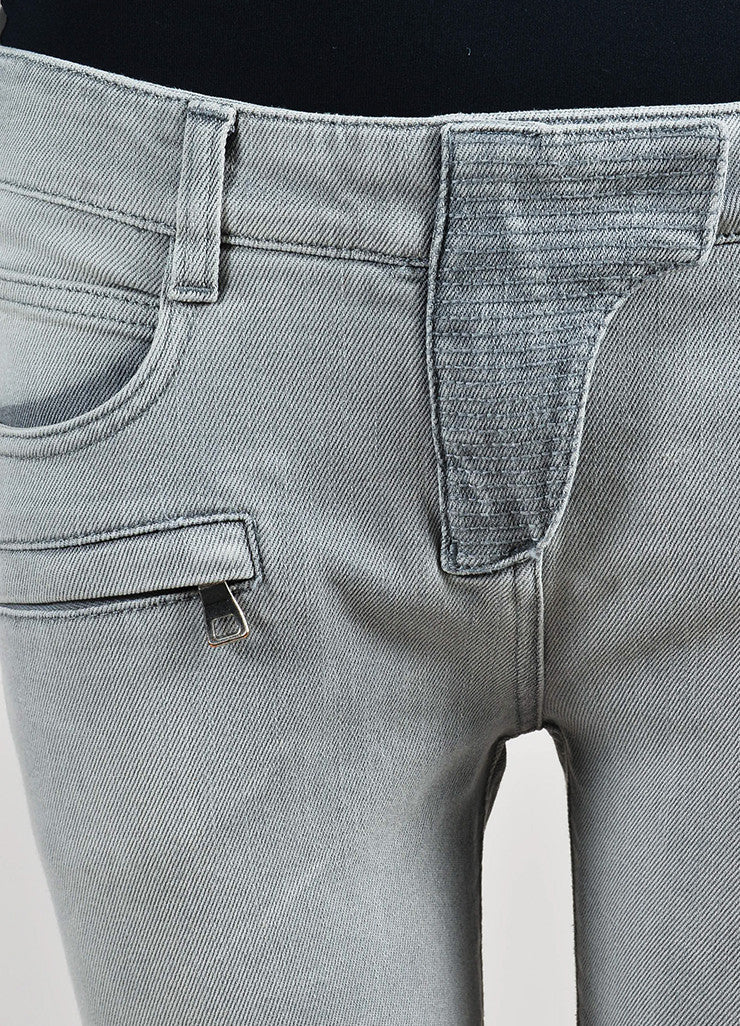 Light Grey Balmain Denim Moto Seamed Skinny Jeans Detail