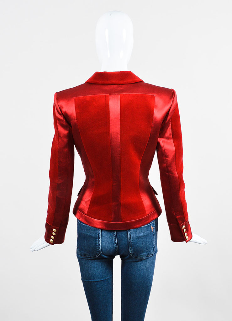 Red Balmain Silk Velvet Panel Long Sleeve Blazer Jacket Back