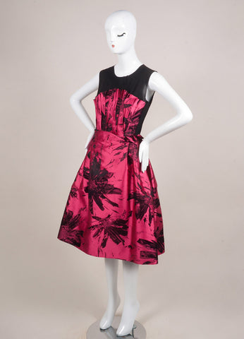 Benhaz Sarafpour Pink and Black Silk and Satin Mesh Floral Print Sleeveless Dress Sideview